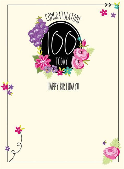 Congratulations 100 Today Birthday Card   Karenza Paperie