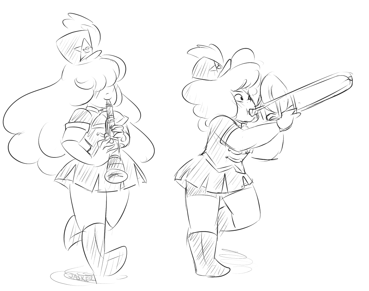 i think ruby would play the trombone! then sapphire the clarinet, and TOGETHER *careless whisper blares in the distance*