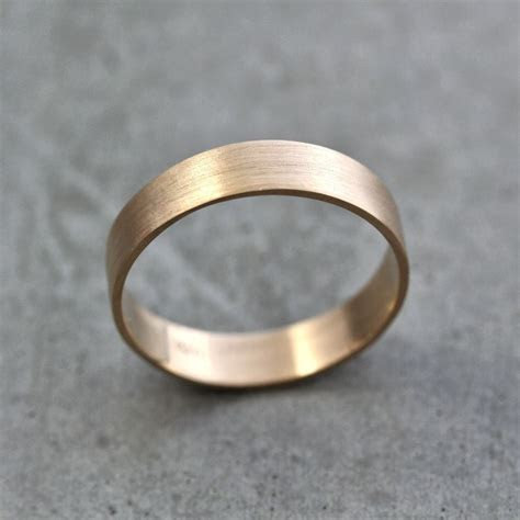 Mens Gold Wedding Band, Unisex 5mm Wide Brushed Flat 10k