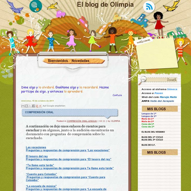 Cuentos con documentos con preguntas sobre lo escuchado 'http://olimpia-primerciclo.blogspot.com.es/2011/10/comprension-oral.html' snapped on Snapito!
