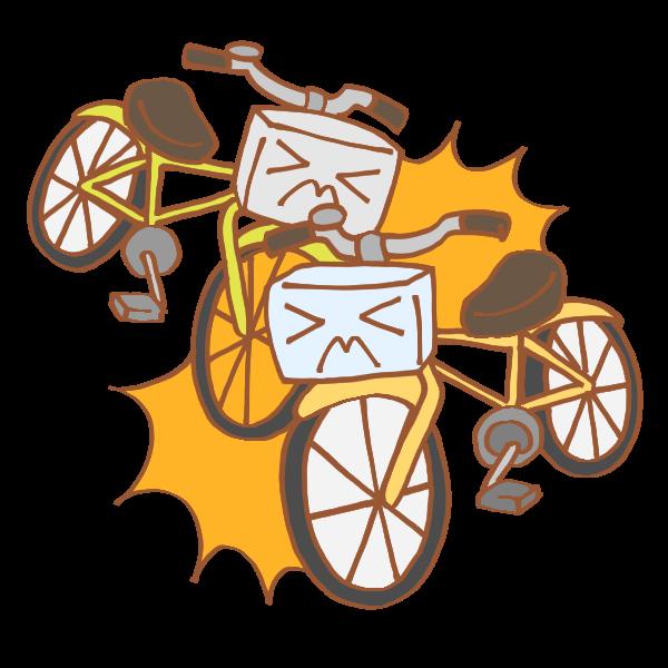 自転車同士の事故のイラスト かわいいフリー素材が無料のイラストレイン