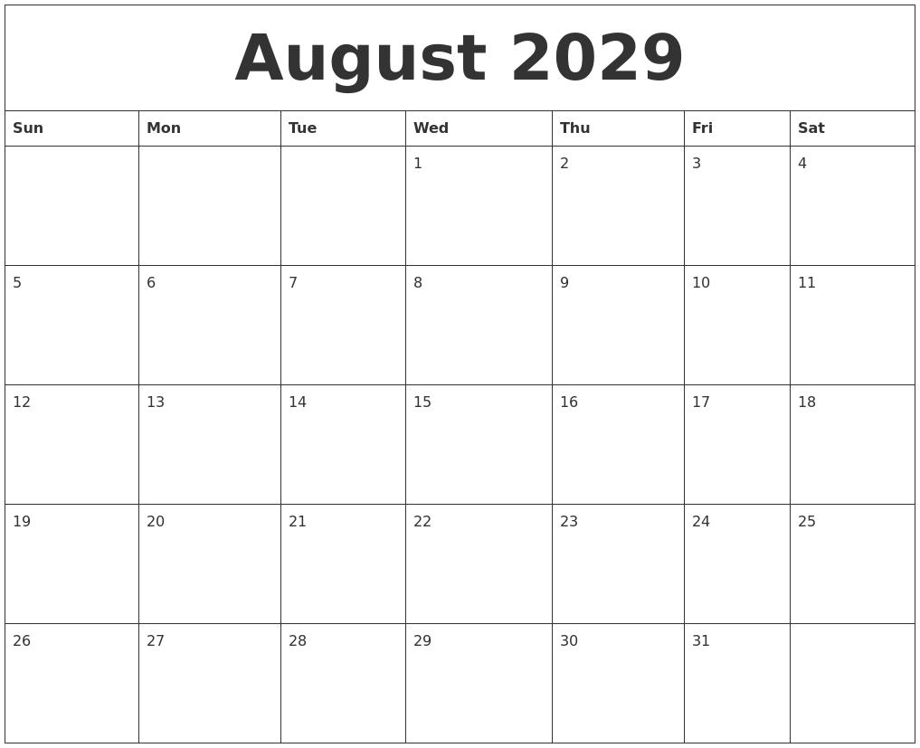 august 2029 free online calendar