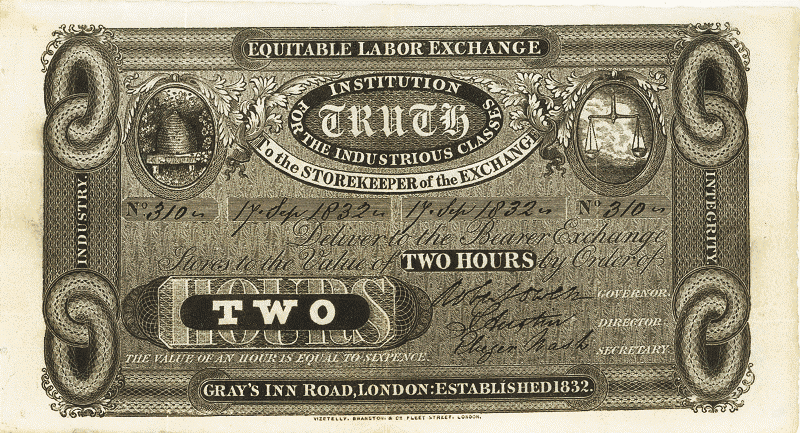 Time based currency from London 1832