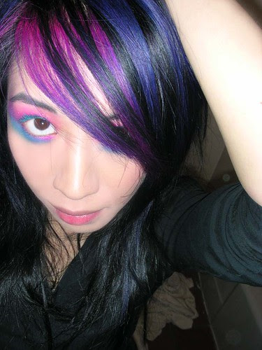 hair with purple in it