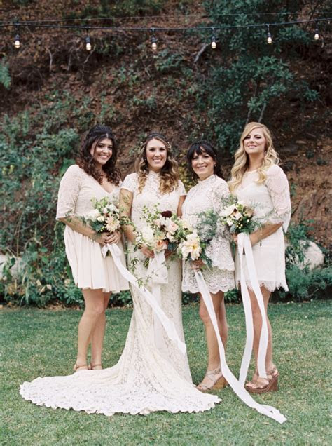 Rustic bohemian wedding   bridal party in white lace
