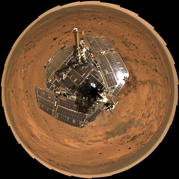 A self-portrait of the Spirit rover taken with her Panoramic Camera.
