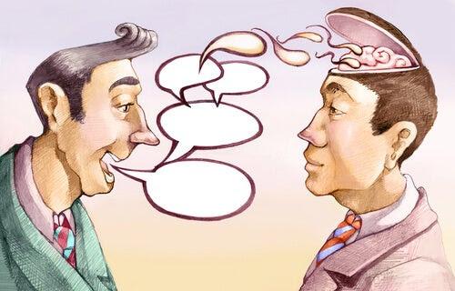 Hombre hablando y manipulando conversación