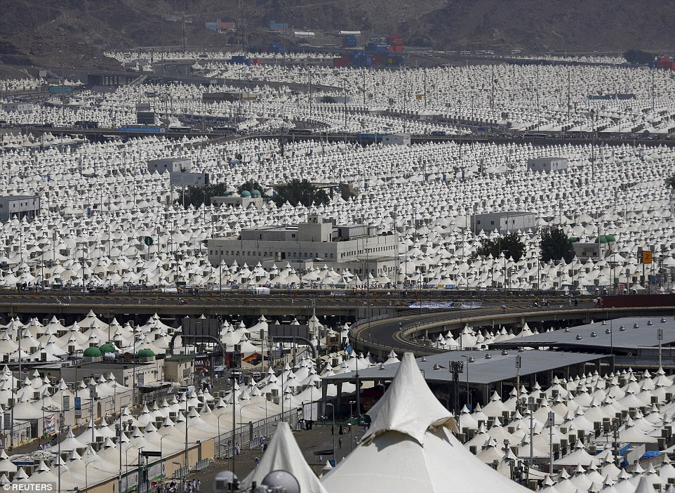 As far as the eye can see: A view of the camp city at Mina, near the holy city of Mecca, where hundreds were killed in the stampede
