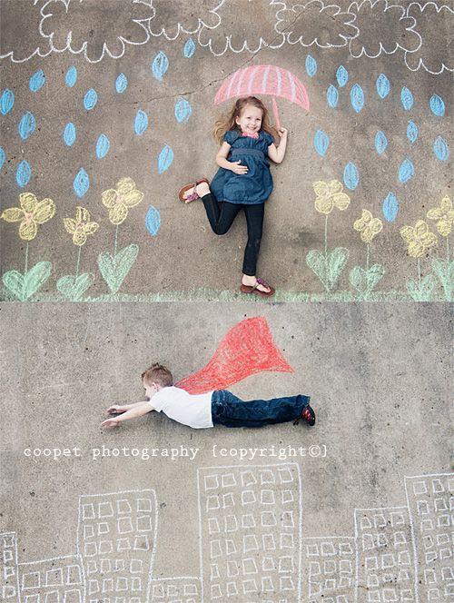 This is a cute idea! Sidewalk chalk portraits. :-)