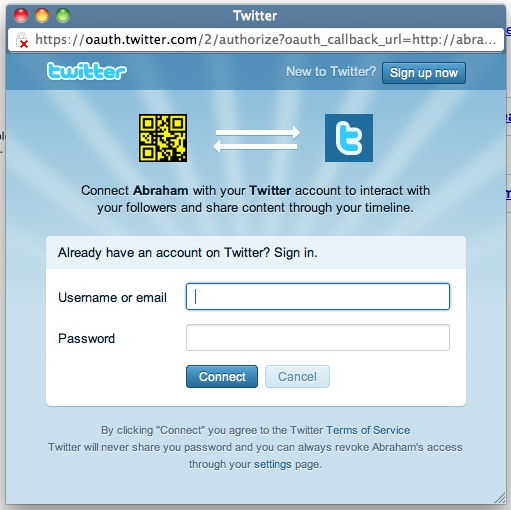Twitter Anywhere authentication popup