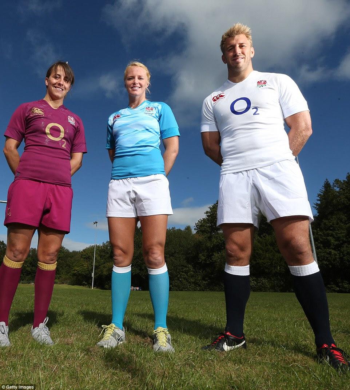 Michaela Staniford retratado com a Inglaterra de rugby estrela Chris Robshaw