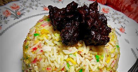 nasi minyak hujan panas daging masak hitam  sedap