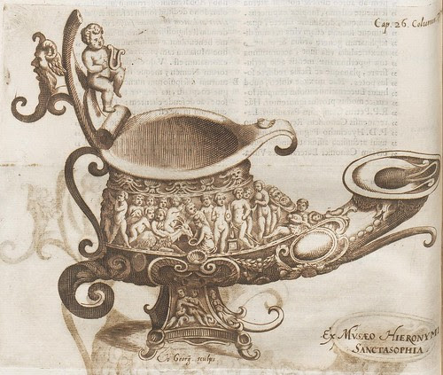 design for ornate oil lamp or jug, festooned with putti