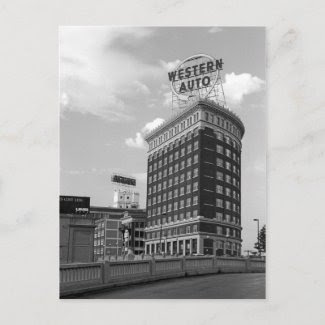 Western Auto Half Cylinder Building Post Card
