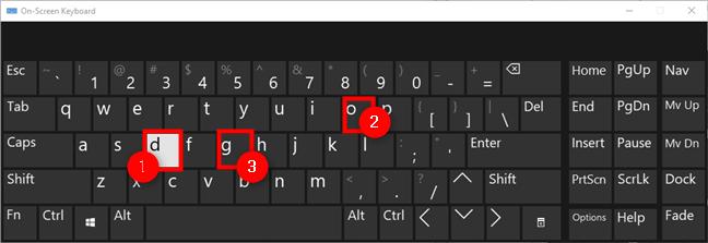 Typing on the Windows 10 virtual keyboard