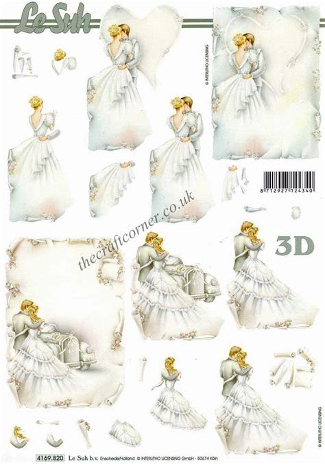 Bride and Groom Wedding Couple 3d Decoupage Sheet