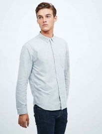 Shore Leave Melange Oxford Shirt In Grey