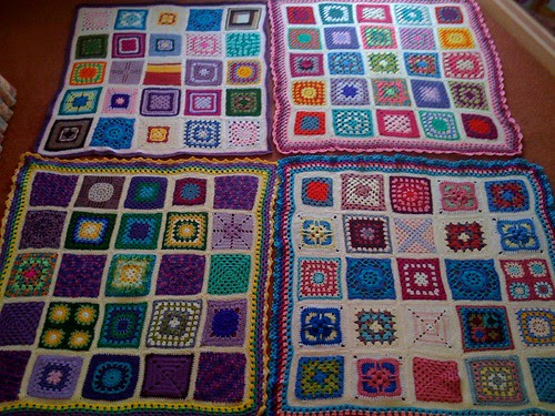 Okay, here are our four 'SIBOLS!'. 'Sunshine International Blankets of Love' for the Elderly. All my Flickr and Blogland friends have helped me make these Blankets. If you'd like to join in the fun, you are most welcome! Details below Thank you!