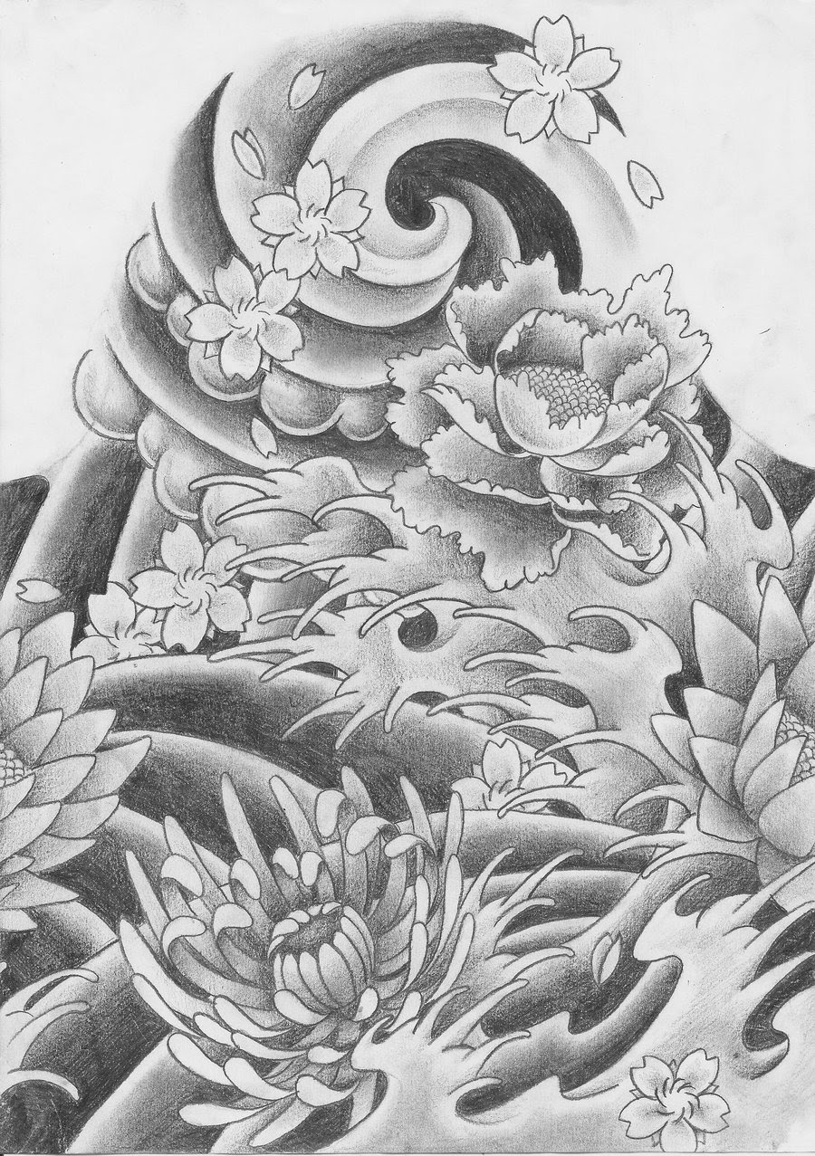 Traditional Japanese Flowers Tattoo Design