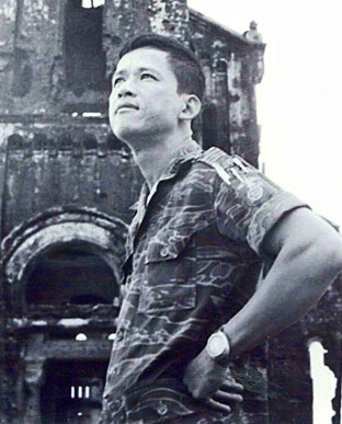 Lt. Col. Le Ba Binh stands in Quang Tri prior to being wounded for the 9th time, 1972