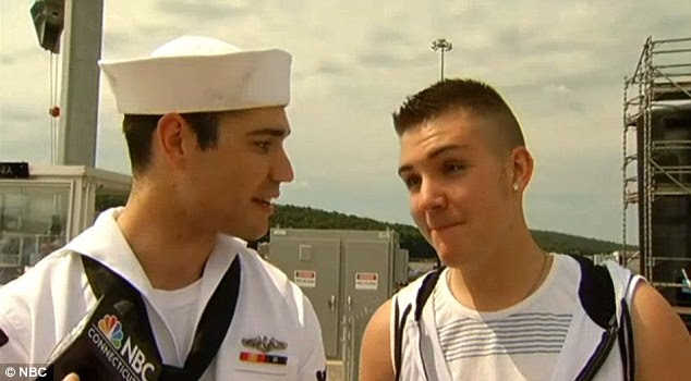 Surprise: Kirchner, right, had no clue that his sailor boyfriend would propose to him right on the pier