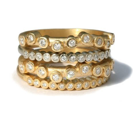 Megan Thorne: Wave Bezel Stack Rings   Jewlery   Jewelry