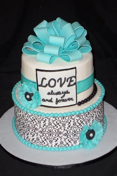Black, White And Tiffany Blue Bridal Shower Cake