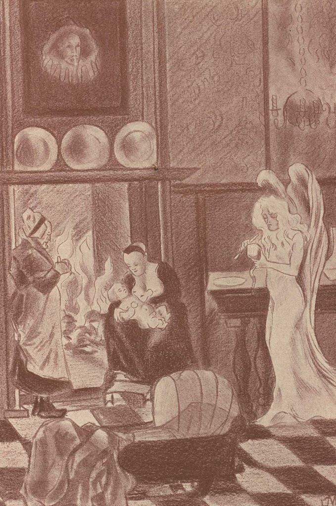 """Premier dessin hors texte d'Étienne Morannes (Claire Demolder-Rops) en tête du chapitre I """"Naissance de Saint Nicolas"""""""