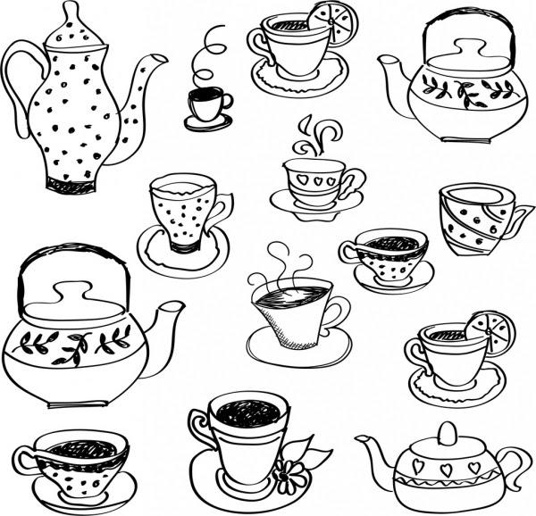 Teh Cangkir Panci Ikon Hitam Putih Handdrawn Sketsa Vektor Icon