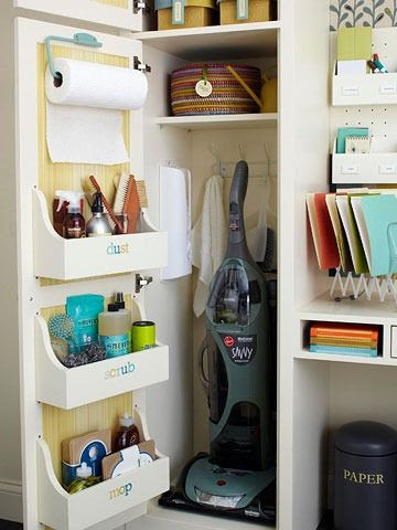Add shelfs to inside cabinet for cleaning supplies - Label*** add papertowel holder to inside door also***