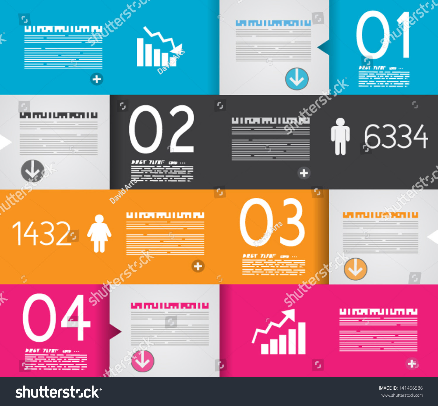 stock vector infographic design template with paper tags ideal to display information ranking and statistics 141456586