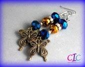 Blue and bronze butterfly earrings