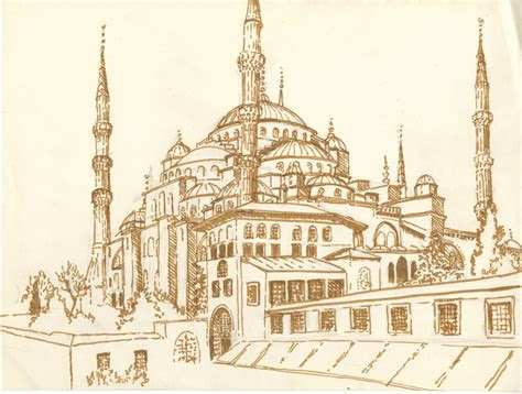 blue mosque drawing travel   traversee du