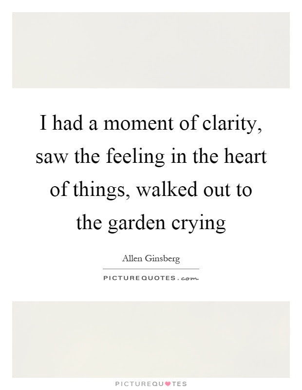 I Had A Moment Of Clarity Saw The Feeling In The Heart Of