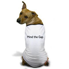 Mind the Gap Dog T Shirt