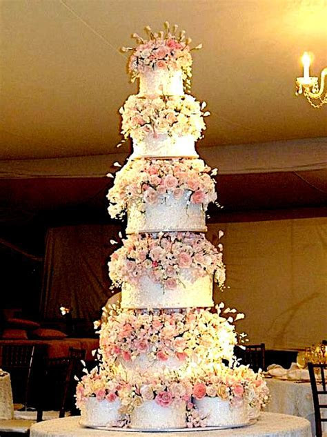 12 Tier Wedding Cake Structure with Beautiful Flowers