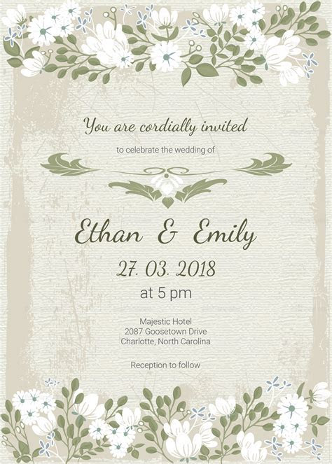 Vintage Wedding Invitation Card Template in PSD, Word