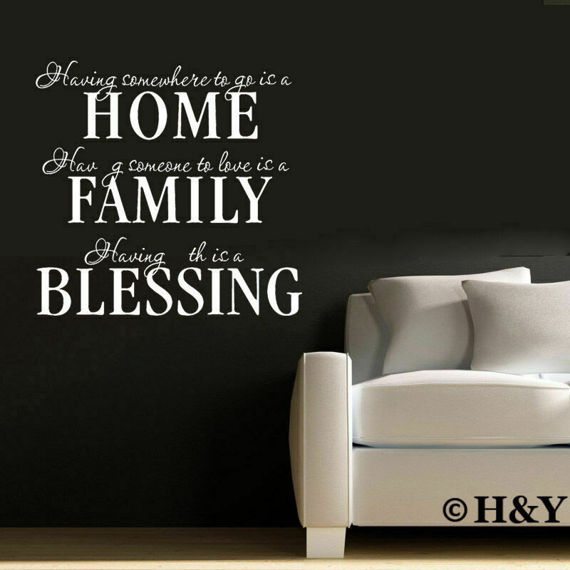 Removable Wall Quote Decal Vinyl Sticker Art Mural DIY ~ HOME FAMILY BLESSING ~  eBay