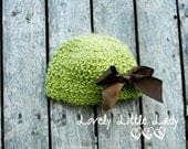 Adorable and Soft Green Apple Baby Girl Hat with Brown Satin Ribbon Accent -- 3-6 Months