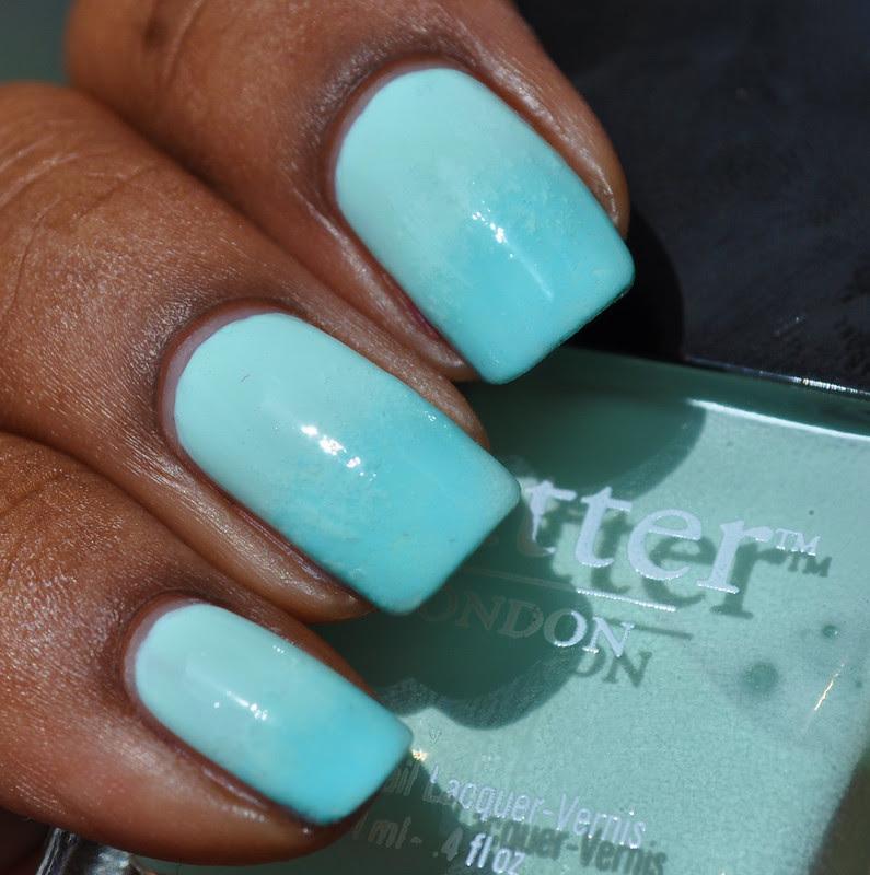 mint green nail polish gradient fiver base royal botanical gardens tips
