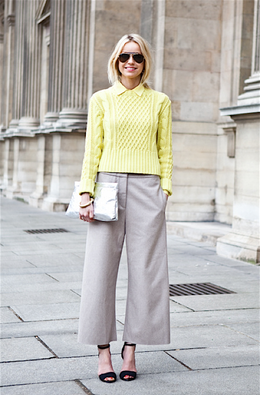 A LOVE IS BLIND STREET STYLE FASHION WEEK YELLOW CABLE KNIT SWEATER BUTTON DOWN WIDE LEG CROPPED PANTS METALLIC SLIVER CLUTCH ANKLE STRAP SANDAL HEELS GOLD BANGLE BRACELET AVIATOR SUNGLASSES