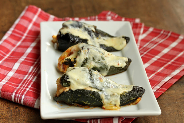 Chorizo Kale and Chicken Stuffed Poblanos
