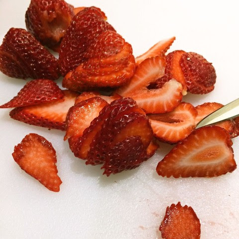 Slice strawberries for garnish SCP