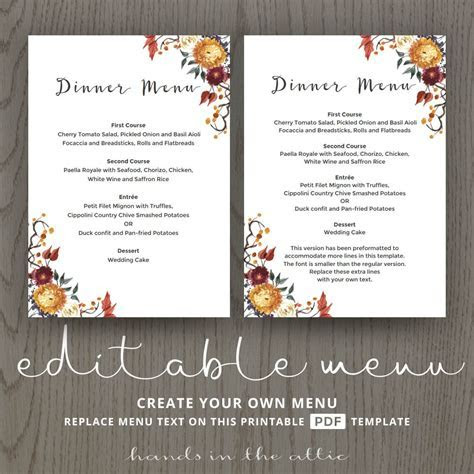 Fall Wedding Dinner Menu Template   Wedding Menu Cards