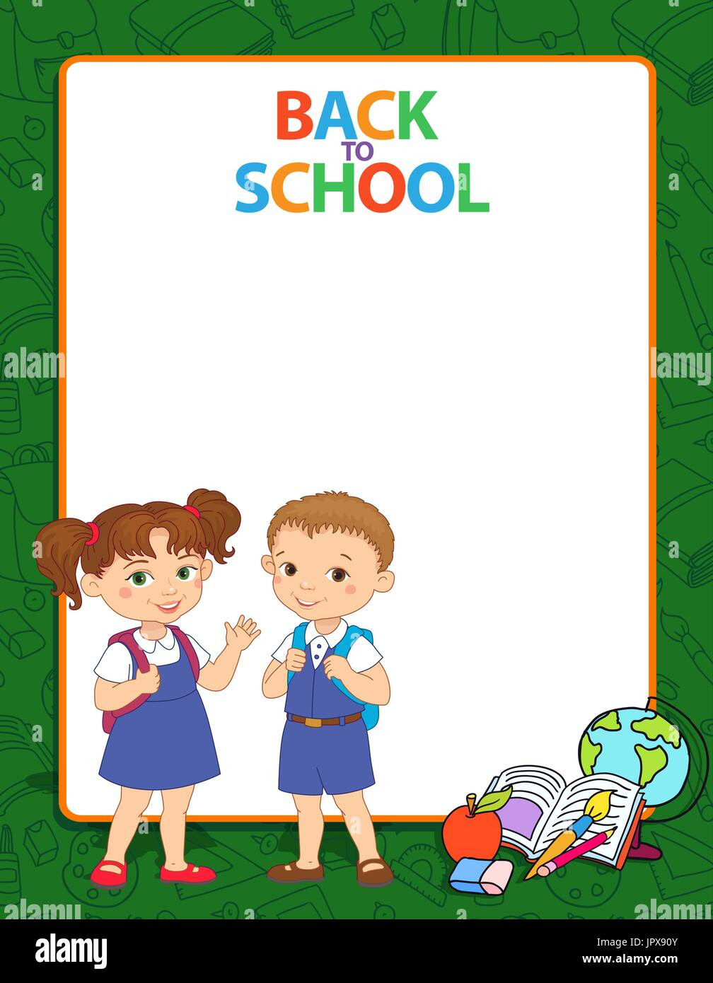 Banner Back To School Boy Girl Pupil Lettering Green Frame Logo