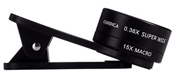 Clip FUNIPICA over your computer or mobile device camera lens to get a wider lens.