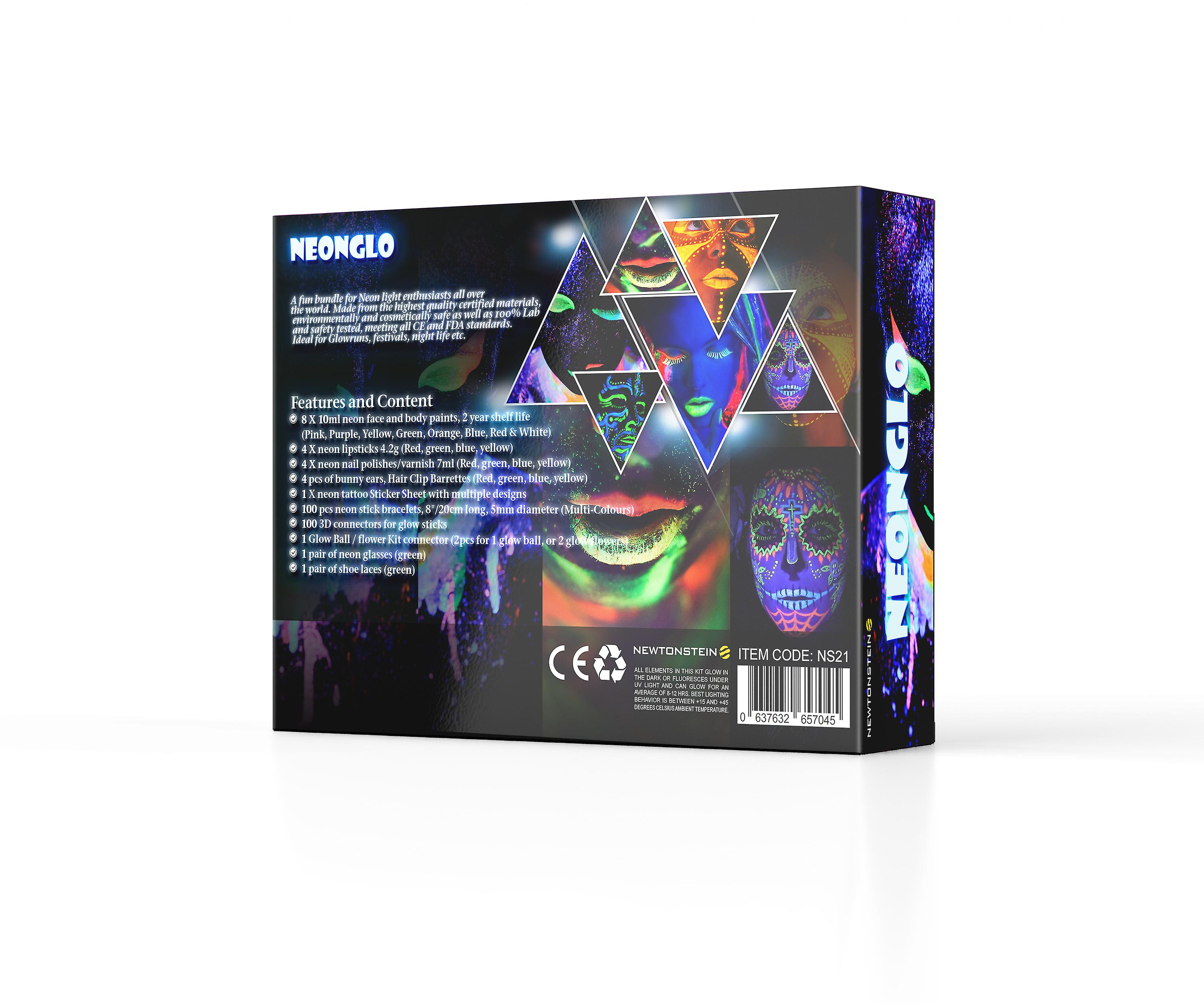 Neonglo 220 Pcs Party Kit With Glowing Stick Bracelets 3d And Glow