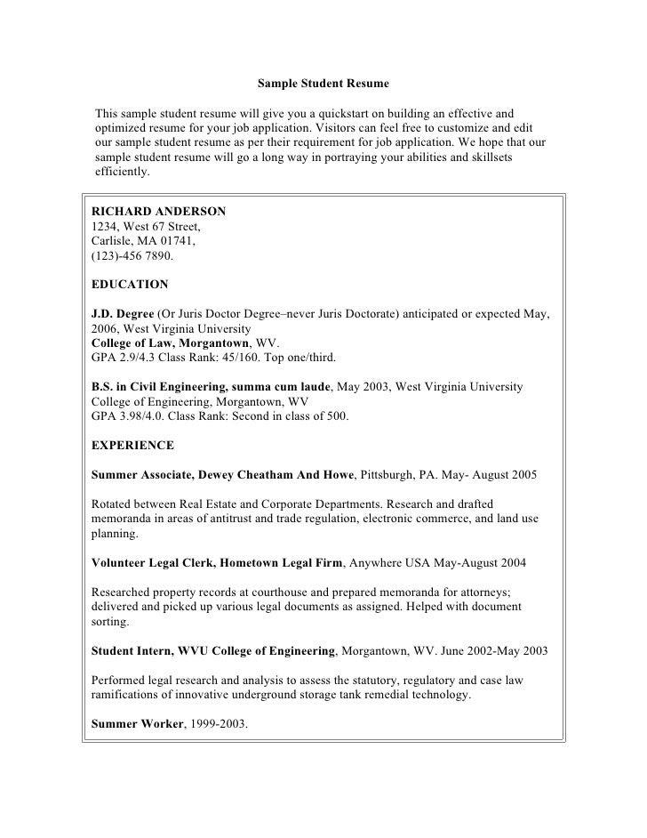 contoh resume writing