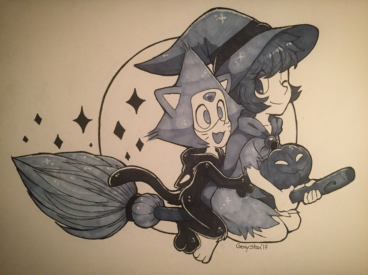 Day 3 : Lapidot costume. Fun fact : this is my first time i'm using a markers with a full illustration. I don't have other color so is little imcomplete. ^^'