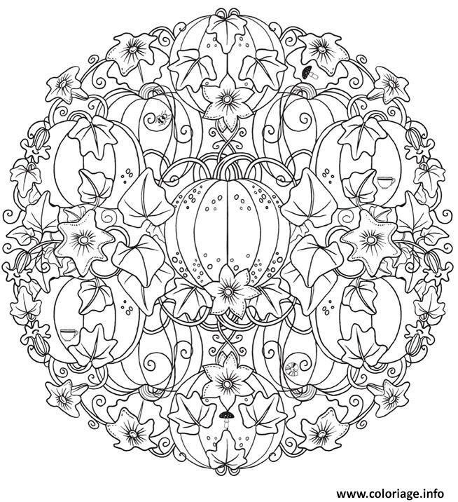 Coloriage Mandala Halloween Pumpkin Citrouille Adulte Jecoloriecom